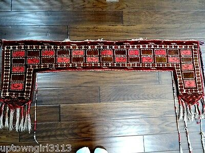 RARE 19thC Bedouin tent door surround ANTIQUE TEXTILE nomadic DOOR TOPPER RUG