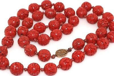 """Vintage Chinese Carved Cinnabar 14mm Bead 30"""" Necklace Strand"""