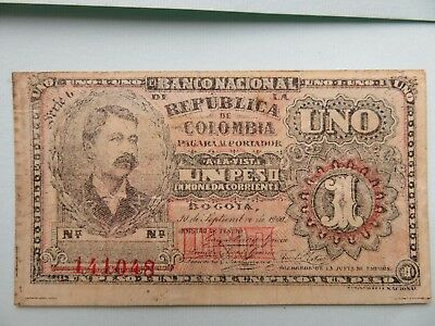 1900 Colombia 1 Peso Banknote