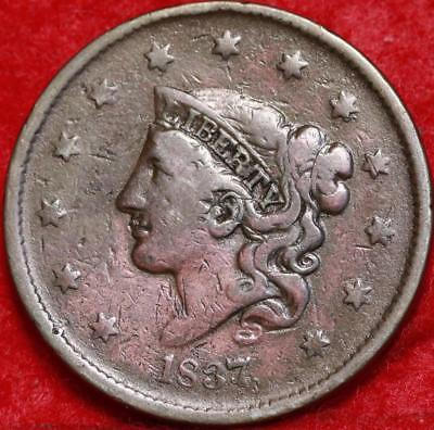 1837 Philadelphia Mint Copper Coronet Head Large Cent Free S/H