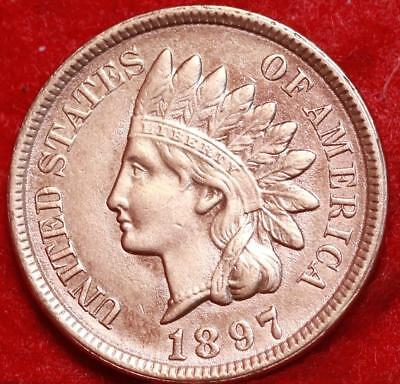 Uncirculated 1897 Philadelphia Mint Copper Indian Head Cent Free S/H