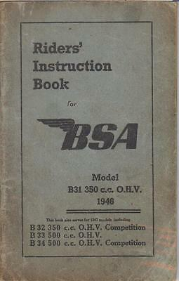 Bsa B31 (1946) & B32 B33 B34 Incl Competition (1947) Owners Instruction Manual