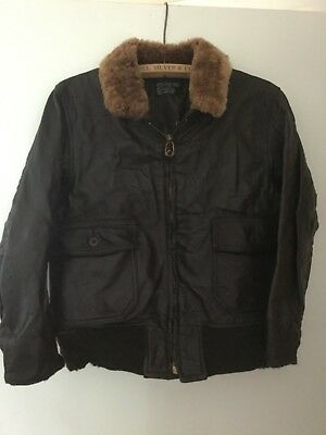 Vietnam Era Navy G-1 leather jacket, Brill Brothers 1968 Contract Russet Collar
