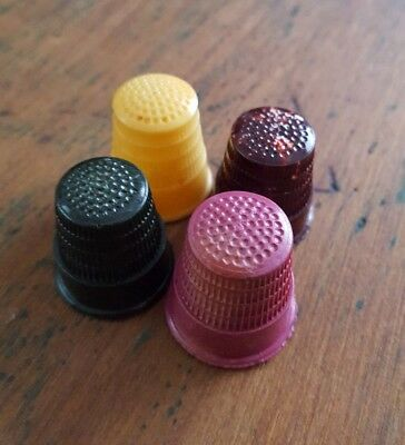 4 x Vintage Multicoloured Early Plastic Bakelite Style Sewing Thimbles