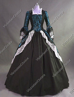 Colonial Renaissance Dress Steampunk Witch Gothic Ghost Halloween Costume 164 S