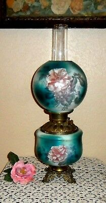Antique 1800's Victorian Oil To Elec Gone With The Wind Hand Painted Parlor Lamp