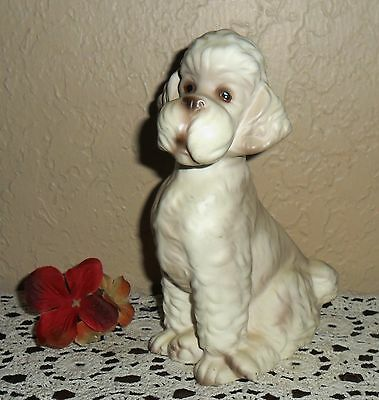 Large Vintage Collectible Mid Century Porcelain Poodle Dog Figurine Statue