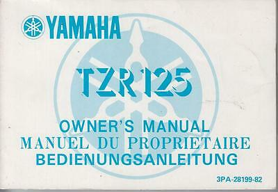 Yamaha Tzr 125 Orig. 1982 Owners Instruction Manual (English French German Text)