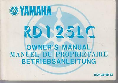 Yamaha Rd125Lc Mk2 Orig.1983 Owner Instruction Manual-English French German Text