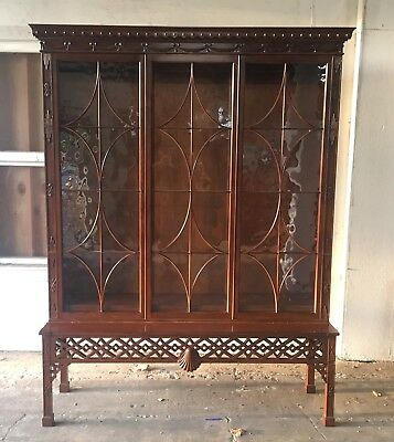 Baker Furniture Irish Chinese Chippendale Bookcase Cabinet