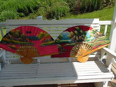 "2 Vintage Hand Painted Cloth & Bamboo Wall Fan Oriental Village Scene 24"" X 39"""