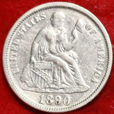 1890 Silver Philadelphia Mint Seated Liberty Dime Free Shipping