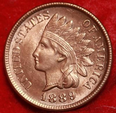 Uncirculated Red 1889 Philadelphia Mint Copper Indian Head Cent Free S/H