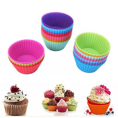 Colors 12 pcs Silicone Cupcake Liner Baking Cups Mold Muffin Cases Cake Cups