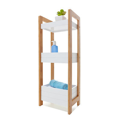 Bamboo 3 tier Bathroom laundry Caddy white storage bins wooden towels toiletries