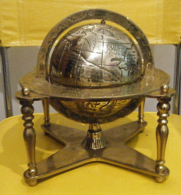 "RARE VINTAGE 15lb HEAVY SOLID BRASS 6"" OLD WORLD AND ZODIAC GLOBE 10"" H DESK TOP"