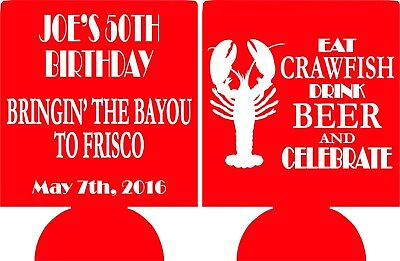 Crawfish Boil Birthday Koozies Design 1005209408 lot of 1 to 100 Personalized