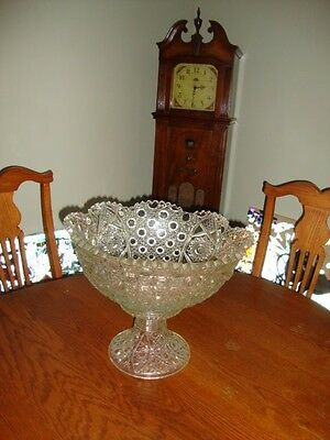 "16"" DAISY & BUTTON Thick-Glass Punch Bowl & Stand-Base, large"