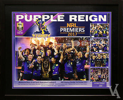 Melbourne Storm 2017 Premiers Rugby League Framed Memorabilia Poster