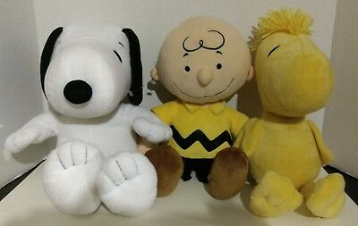 "Peanuts Charlie Brown Snoopy and Woodstock 14"" Plush Figures Lit of 3"