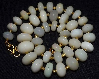 """O-1388 Ethiopian Fire Opal Gemstone Rondelle Beads 216Cts 10-15mm 17"""" Necklace"""