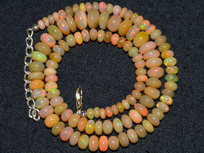 """O-1006 Ethiopian Fire Opal Welo Gemstone Rondelle Beads 75Cts 4-8mm 17"""" Necklace"""