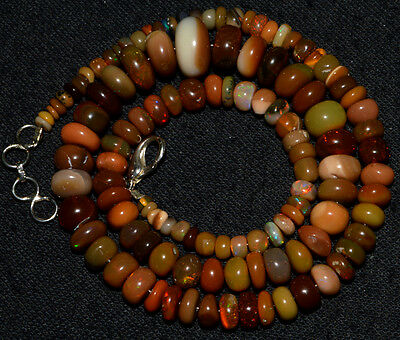 """O-2788 Ethiopian Fire Opal Welo Gemstone Rondelle Beads 92Ct 3-11mm 17"""" Necklace"""