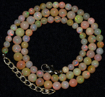 """O-3112 Natural Ethiopian Opal Top Fire Round Plain Beads 4-5mm 54Ct 18"""" Necklace"""