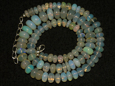 """O-3585 Ethiopian Fire Opal Gemstone Rondelle Beads 113Cts 6-10mm 18"""" Necklace"""