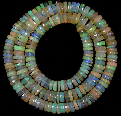 """O-3927 Ethiopian Fire Opal Welo Gemstone Coin Faceted Bead 87Cts 5-6mm 16"""" St"""