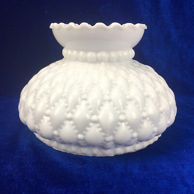 White Milk Glass Textured Lamp Shade Frilled Hobnail Pressed Lighting Vintage