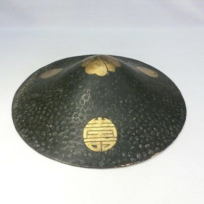 G432: Japanese old lacquered SAMURAI military hat JINGASA with MAKIE.