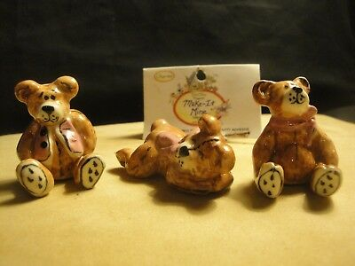 Blue sky Make it Mine Charms Baby BEARS LOT of 3 adorable Mini figures-Brand NEW