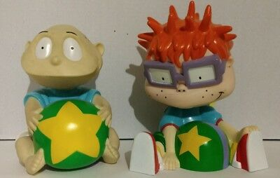 "Rugrats Tommy Coin Bank 1997 7"" and Chuckie Candy Holder 1999 8"" Figures"