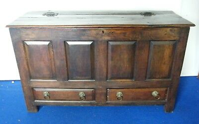 Oak Coffer Mule Chest 18th 19th century planked pannelled drawers Blanket box