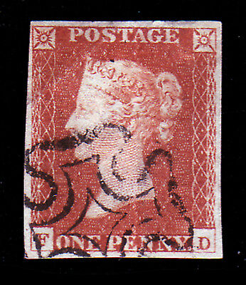 GB. QV. SG 8, 1d RED BROWN(F,D). USED.