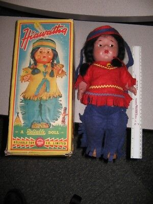 Reliable Toy Co 1940s HIAWATHA native American Indian doll composition boxed