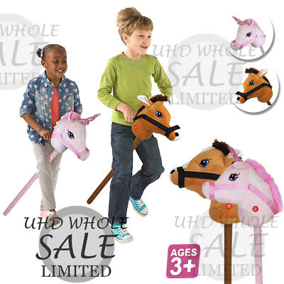 "28"" Kids Hobby Horse Unicorn W/ Galloping Neighing Sound Boys Girls Xmas Toy New"