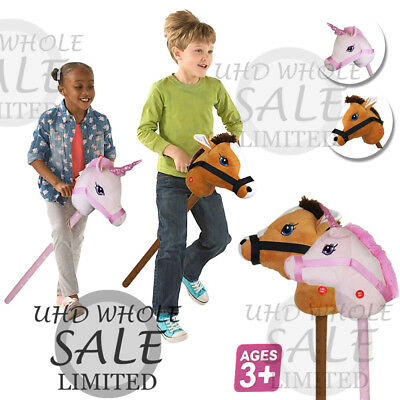 Kids Hobby Horse Unicorn W/ Galloping Neighing Sound Childrens Boys Girls Toy