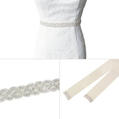 Bridal Sash Wedding Ladies Vintage Rhinstone Diamante Dress Satin Belt FA125