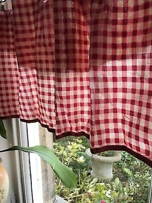 Stunning Antique french Vichy Check Shabby Chic fabric Gingham Panel Project