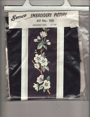 "Semco Embroidery Picture Flowers Blossom  Kit No 108  16"" x 6"""