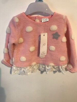 Beautiful Pink Spotted Girls Jumper With Lace  6-9 Months NEW With Tags