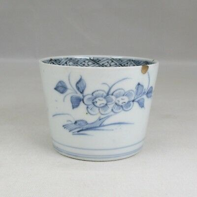 A404: Real old Japanese IMARI blue-and-white porcelain cup SOBA-CHOKO in18c. 2