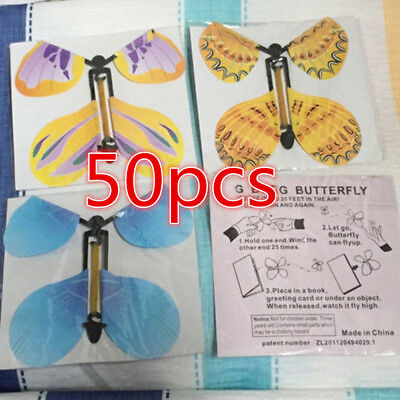 50xMagic Flying Butterfly Birthday Anniversary Wedding Greeting Card Gift Toy HE