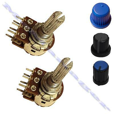 Knob and 2K lin Linear log logarithmic Stereo Splined  Potentiometer Pot