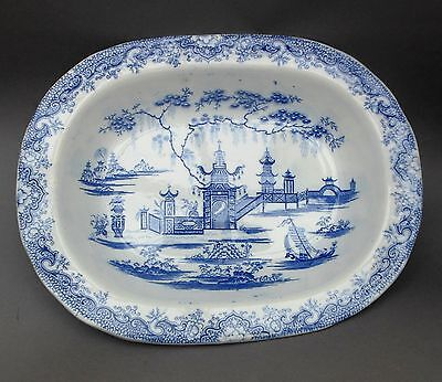 C19th Blue & White Pottery Pie Dish ~ Whampoa Pattern ~ Welsh / Llanelly Bowl