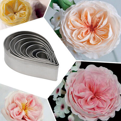 7Pcs Kitchen Baking Rose Flower Petal Cookie Cake Cutters Biscuit Pastry Mould