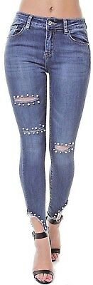 WOMENs SKINNY Slim JEANS Jeggings Mid WAISTED Pearl Embellish Pants 8-20