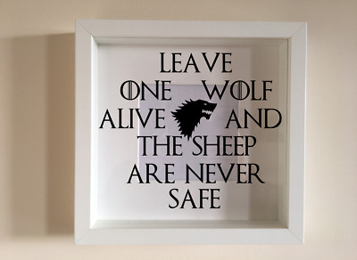 IKEA RIBBA Box Frame Vinyl Quote Leave One Wolf Arya Stark Game Of Thrones